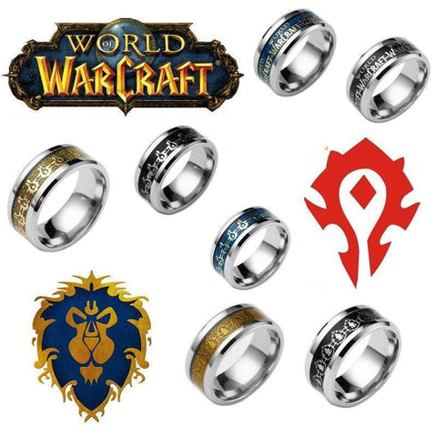 World of Warcraft Alliance and Horde Stainless Steel Ring
