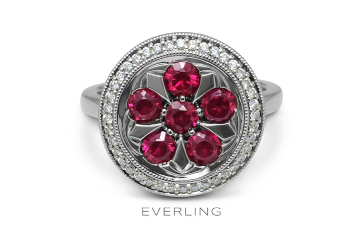 6 re-purposed rubies set in recycled white gold with a halo of Canadian sourced diamonds. www.EverlingJewelry.com