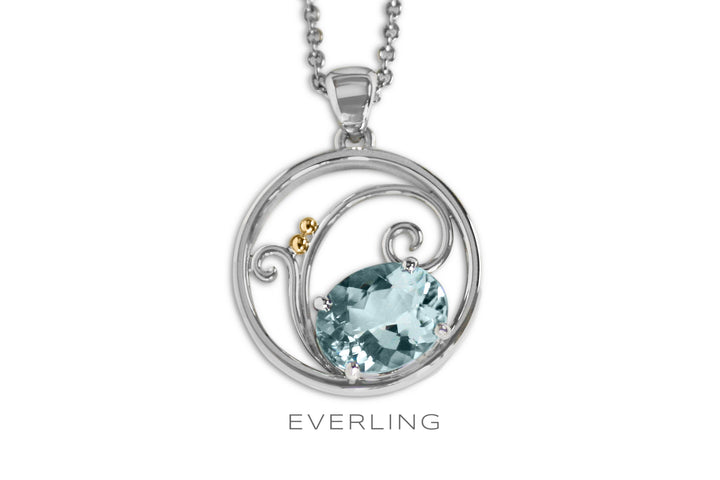 Custom recycled Platinum and 14k Yellow gold hand fabricated pendant with an oval prong set Aquamarine. www.EverlingJewelry.com