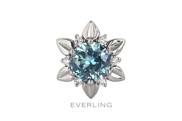Recycled 14k white gold Pendant with Blue Zircon and Canadian sourced diamonds. www.EverlingJewelry.com