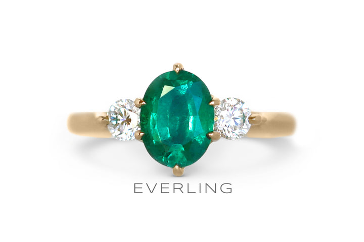 Natural Emerald with Diamond accents set in recycled 18k Yellow Gold. www.EverlingJewelry.com