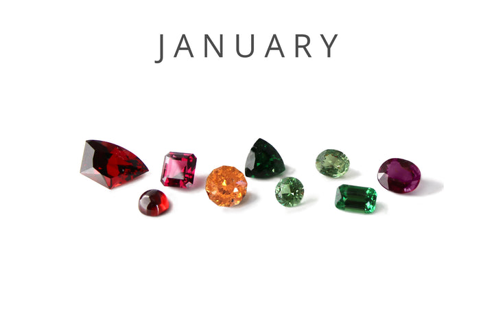 Different colors and types of garnets, including: pyrope, almandine, rhodolite, spessartite, tsavorite, demantoid, and color-change. www.EverlingJewelry.com