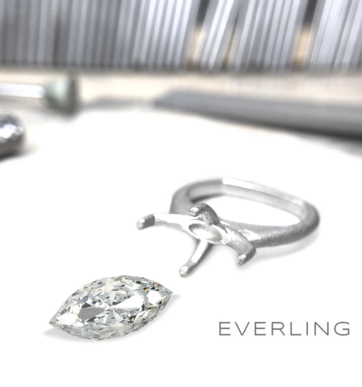 Custom platinum ring with the client's 2ct marquis diamond about to be set. www.EverlingJewelry.com