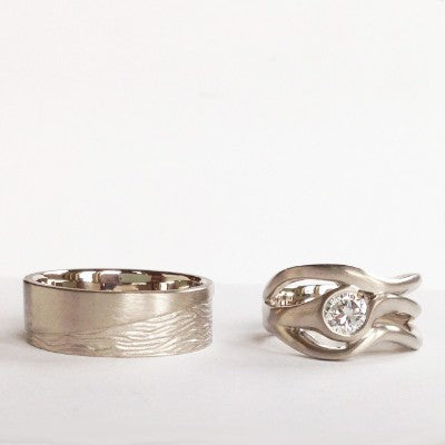 Water sign- Cancer wedding ring set