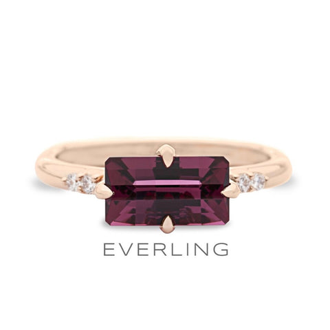 Rhodolite Garnet four stone rose gold ring with Canadian diamonds