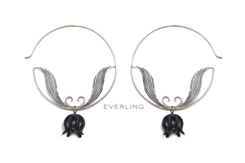 Hand fabricated lily of the valley earrings with hand carved onyx. www.EverlingJewelry.com