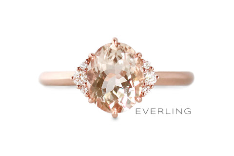 Recycled 14k Rose Gold with an oval center morganite and Canadian sourced diamonds on each side. www.EverlingJewelry.com