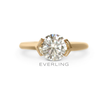 1.5ct Round brilliant cut diamond in a recycled 14k yellow gold half bezel ring