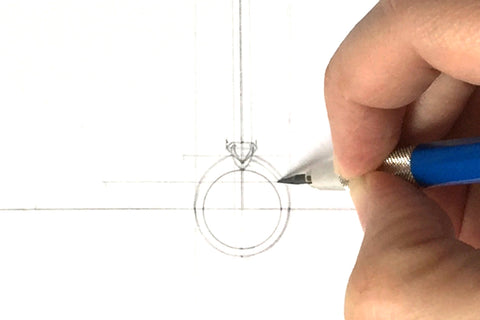 Drafting sketch of the side face of a ring