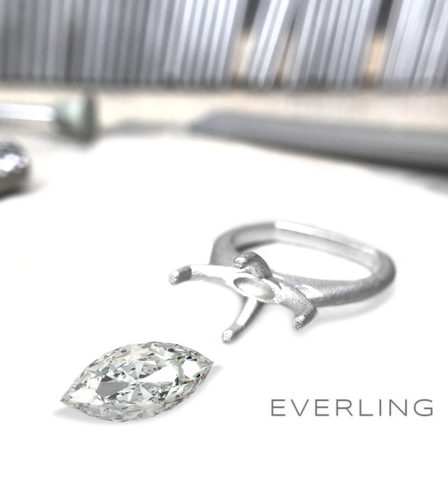 Loose Marquis diamond being reset into a new engagement ring. www.EverlingJewelry.com