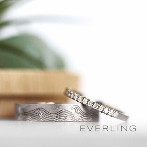 Engraved band and diamond band - Everling
