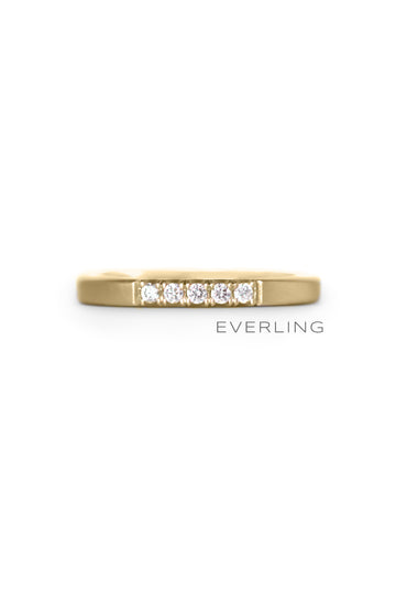 Recycled 18k Yellow Gold ring with five Canadian sourced diamonds in a modern fishtail setting. #designerjewelry www.everlingjewelry.com
