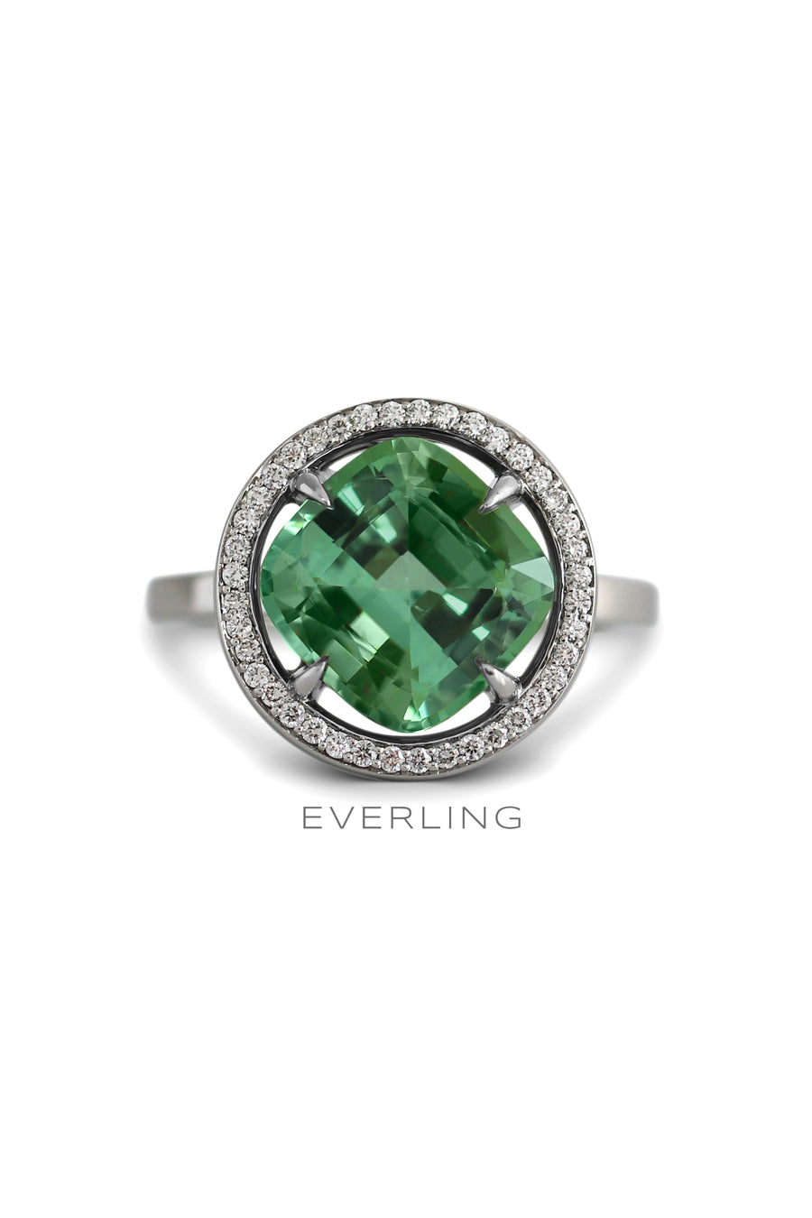 Recycled Platinum and Green Tourmaline ring with  Canadian sourced Diamonds #tourmalinering #designerjewelry www.everlingjewelry.com