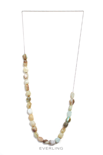 Recycled Palladium Cable Chain Necklace with Green Opal Beads. #peruvianopal #designerjewelry www.everlingjewelry.com