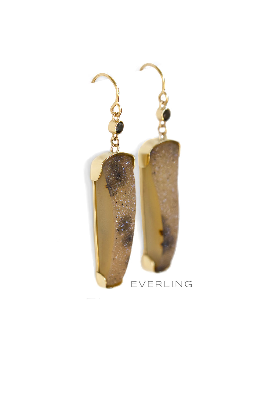 Detail-Recycled 18k yellow gold dangle earrings with druzy quartz and black diamonds. www.EverlingJewelry.com