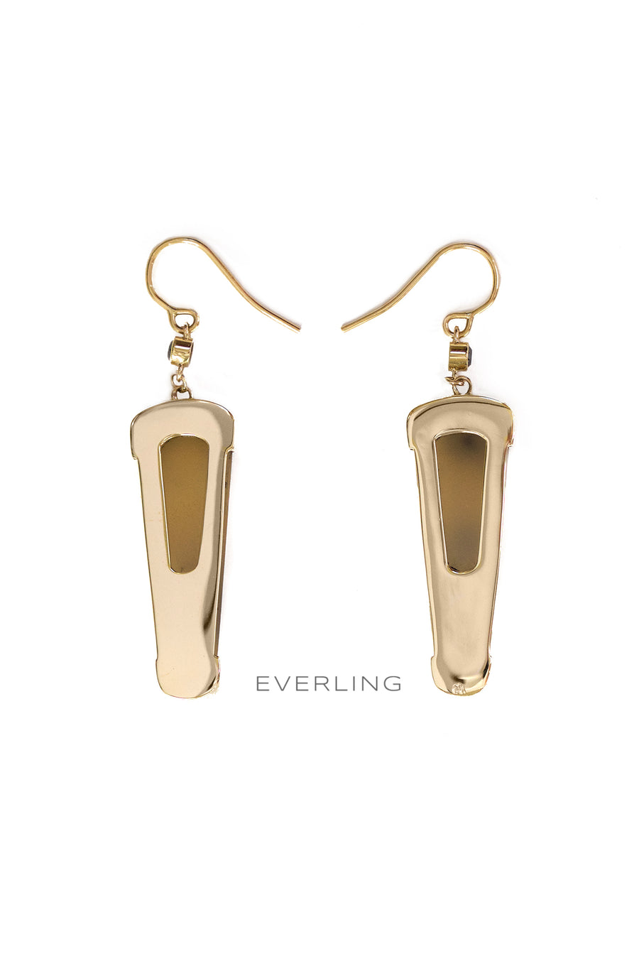 Back Detail-Recycled 18k yellow gold dangle earrings with druzy quartz and black diamonds. www.EverlingJewelry.com
