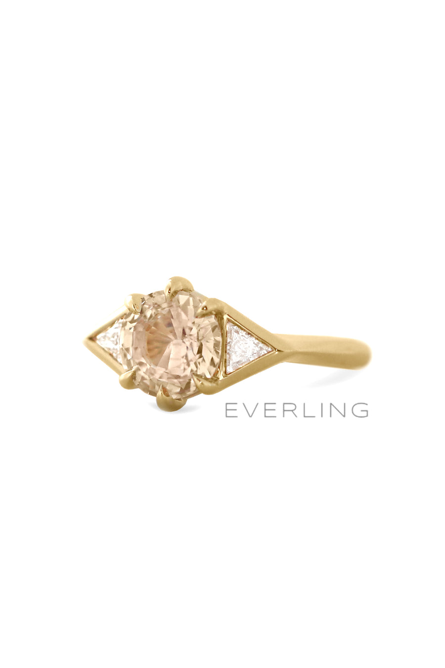 18k yellow gold ring with a 2.00ct champagne sapphire and 2 triangle diamonds. www.EverlingJewelry.com