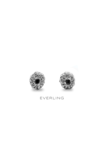 sterling silver and 14k yellow gold plant blossom stud earring with a black diamond