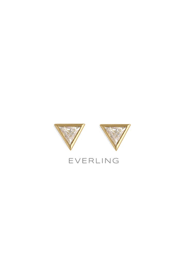 Recycled 18k Yellow Gold triangle cut diamond bezel stud earrings. #designerjewelry www.everlingjewelry.com