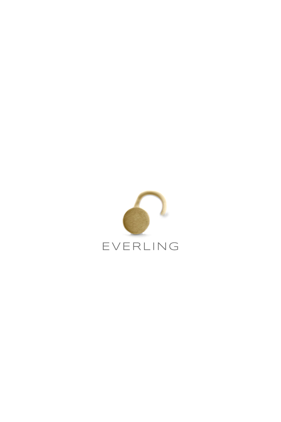 Recycled 14k Yellow Gold disk nose stud. www.EverlingJewelry.com