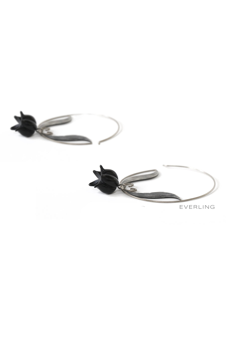 Detail- Recycled 14K Palladium White Gold and Sterling Silver Hoop earrings with Carved Onyx beads. #hoopearrings #organicjewelry www.everlingjewelry.com