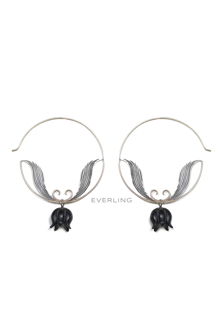 Recycled 14K Palladium White Gold and Sterling Silver Hoop earrings with Carved Onyx beads. #hoopearrings #organicjewelry www.everlingjewelry.com