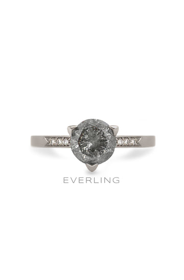 14k palladium white gold 3 prong ring with a 2.00ct RBC Salt and Pepper diamonds with Canadian sourced diamonds on each side. www.EverlingJewelry.com