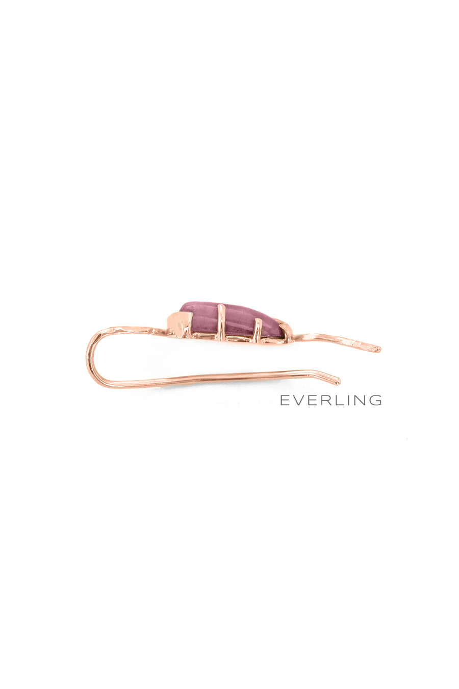 Detail- Recycled 14K Rose Gold and Rhodolite Garnet Ear Climber. #earclimber #designerjewelry www.everlingjewelry.com