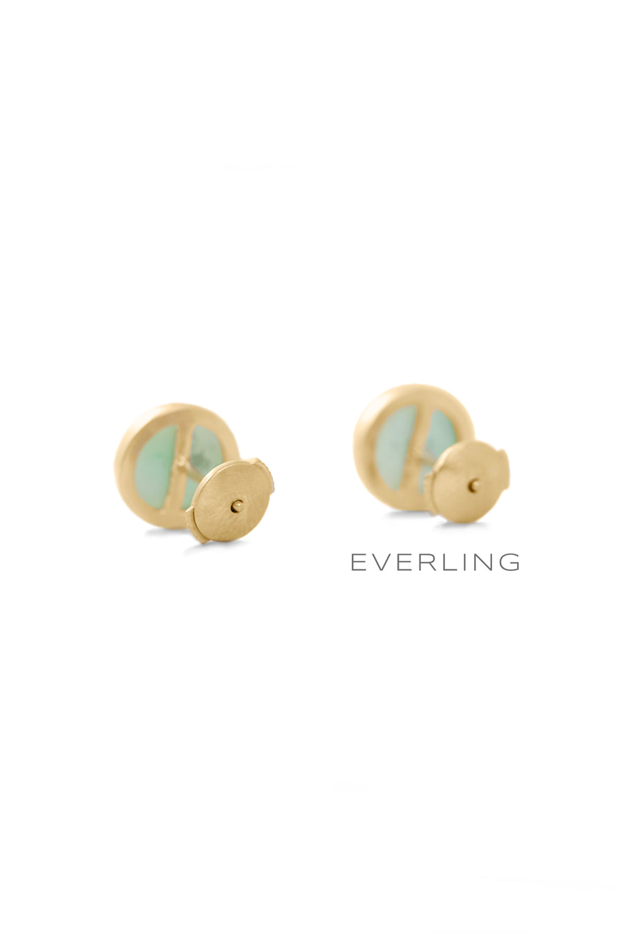 Recycled 18K Yellow Gold Round Bezel Stud Earrings with Up-cycled Jade. www.EverlingJewelry.com