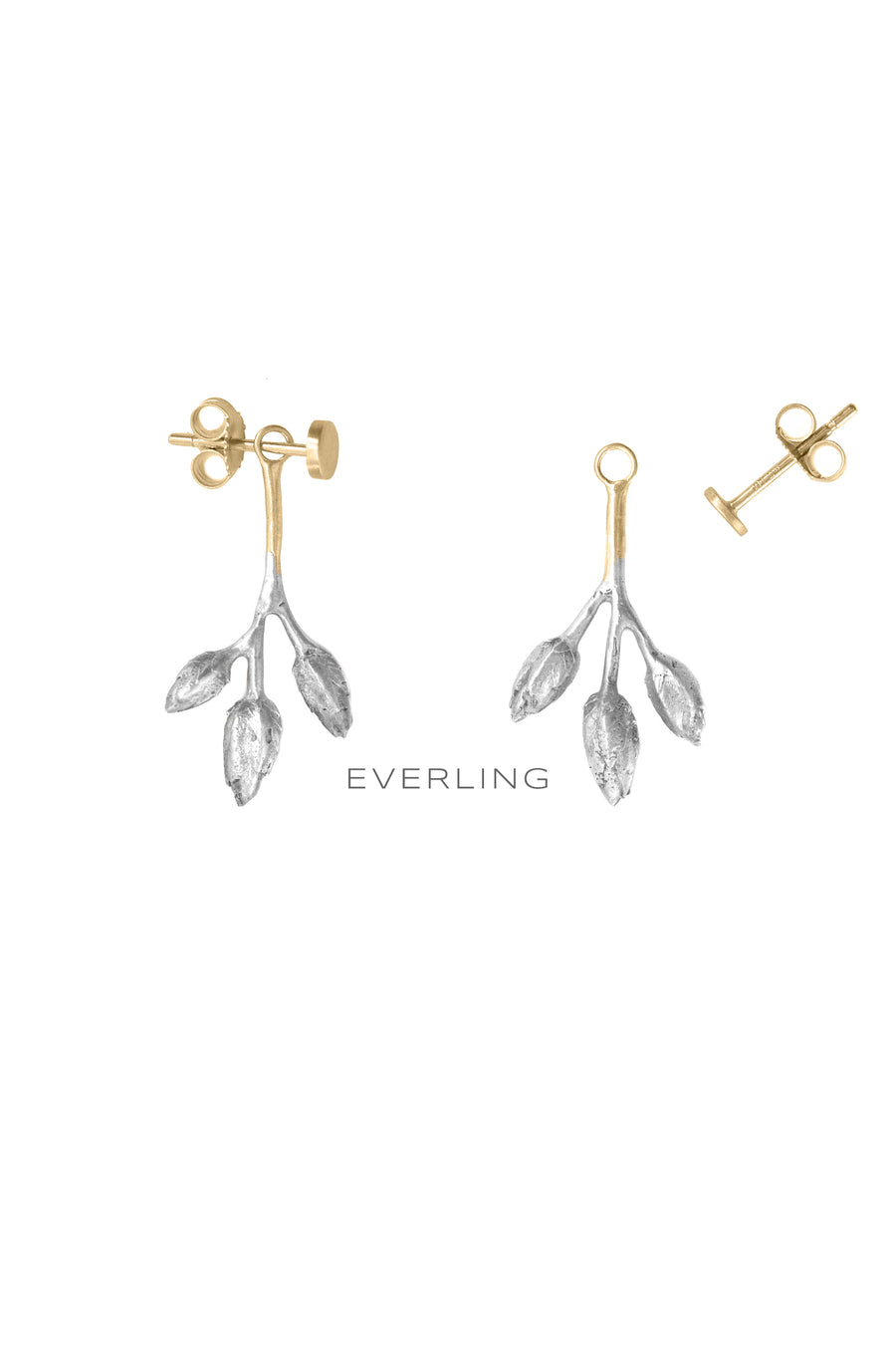 Detail- Recycled 14K Yellow Gold and Sterling Silver Three-pod Earring Jackets and Stud Earrings. #organicjewelry #designerjewelry www.everlingjewelry.com