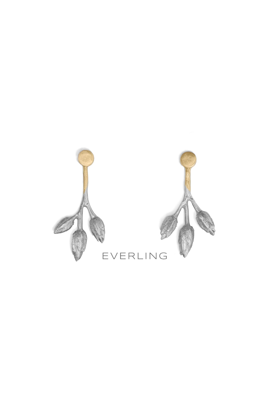 Recycled 14K Yellow Gold and Sterling Silver Three-pod Earring Jackets and Stud Earrings. #organicjewelry #designerjewelry www.everlingjewelry.com