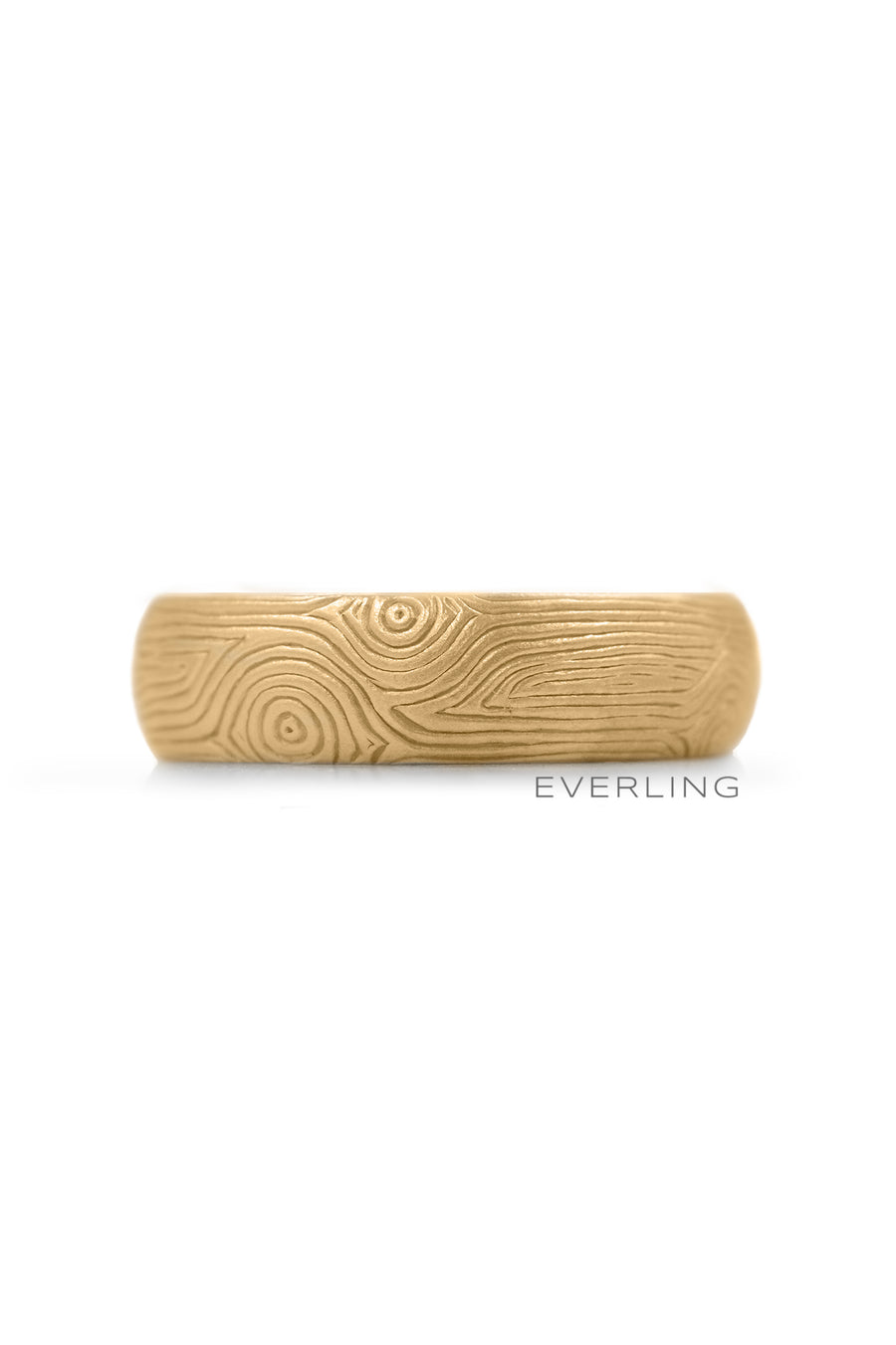 Up-cycled 14K Yellow Gold Band with a Hand EngravedWood Grain Pattern. #weddingrings #designerjewelry www.everlingjewelry.com