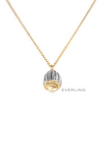 Recycled 14K Yellow Gold and Sterling Silver Poppy Necklace. #organicjewelry #designerjewelry www.everlingjewelry.com
