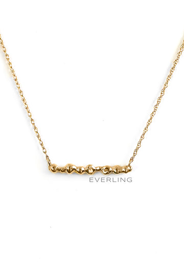 Detail- Up-cycled 14k Yellow Gold Rope Chain with Recycled Fused Gold Beads. www.EverlingJewelry.com
