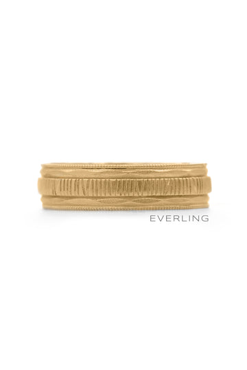 Up-cycled 14K Yellow Textured Gold Band. #upcycledjewelry #designerjewelry www.everlingjewelry.com