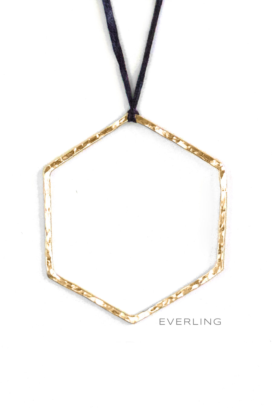 Recycled 14K Yellow Gold Hammer Textured Hexagon Pendant #hexagon #geometricjewelry www.everlingjewelry.com