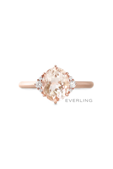 Recycled 14K Rose Gold Morganite and Canadian Diamond Ring. #engagementrings #designerjewelry www.everlingjewelry.com