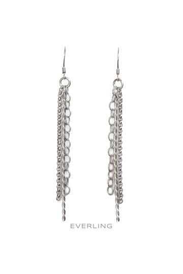 Recycled Sterling Silver Chain & Twist Wire Dangle Earrings. #designerjewelry #ethicalfashion www.everlingjewelry.com