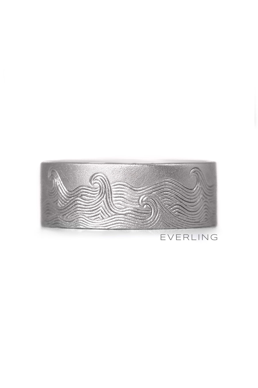 Recycled 14k palladium white gold 8mm band with hand engraved wave pattern. wwwEverlingJewelry.com