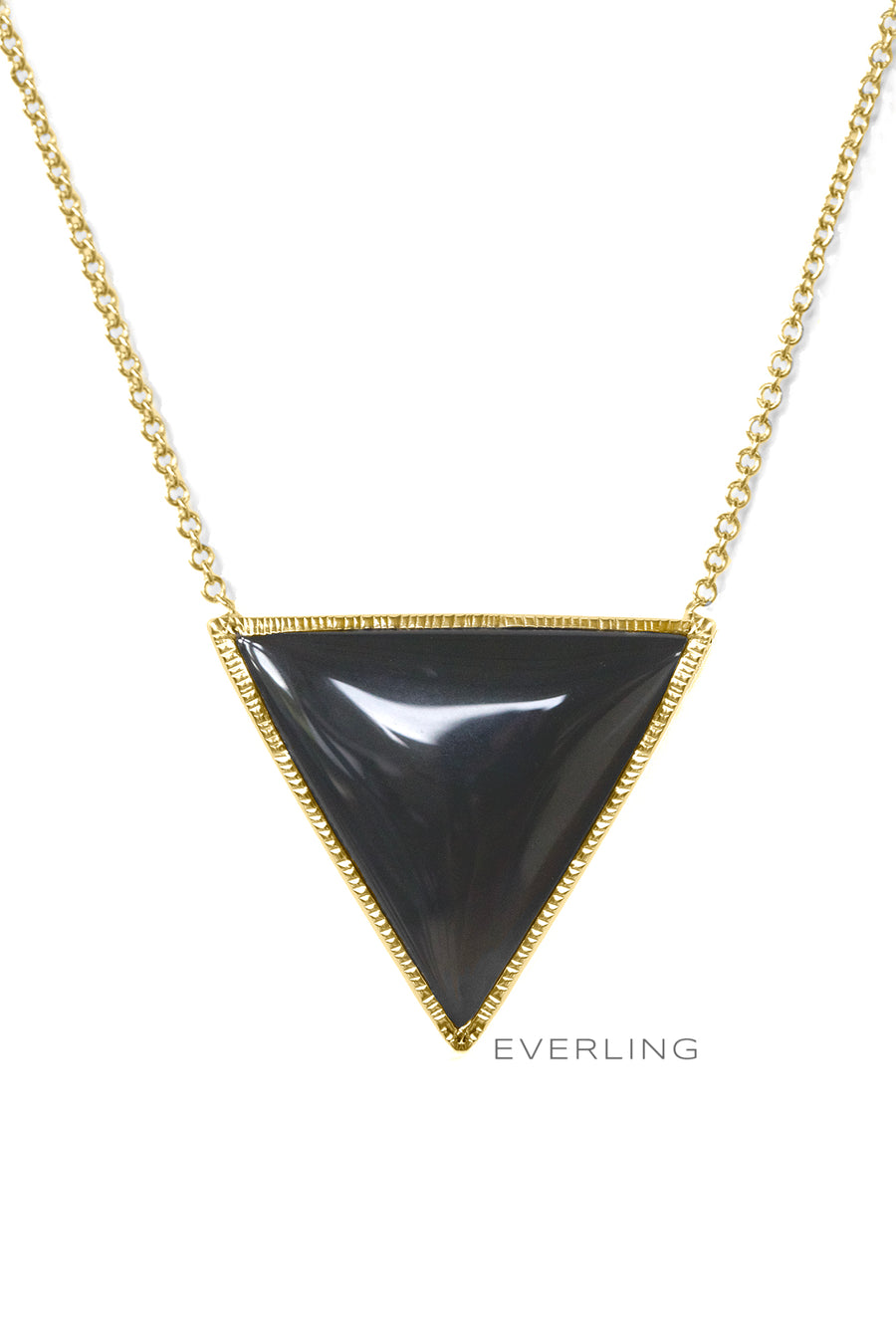 Detail-Recycled 18K Yellow Gold Bezel-Set Trillion Tiger Eye Necklace. #designerjewelry www.everlingjewelry.com