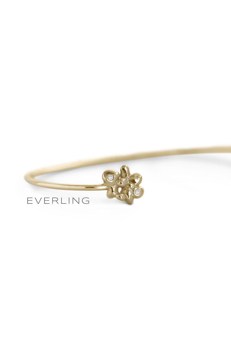 Detail- Recycled 14K Yellow Gold Bubble and Diamond Accent Cuff Bracelet. #designerjewelry www.everlingjewelry.com