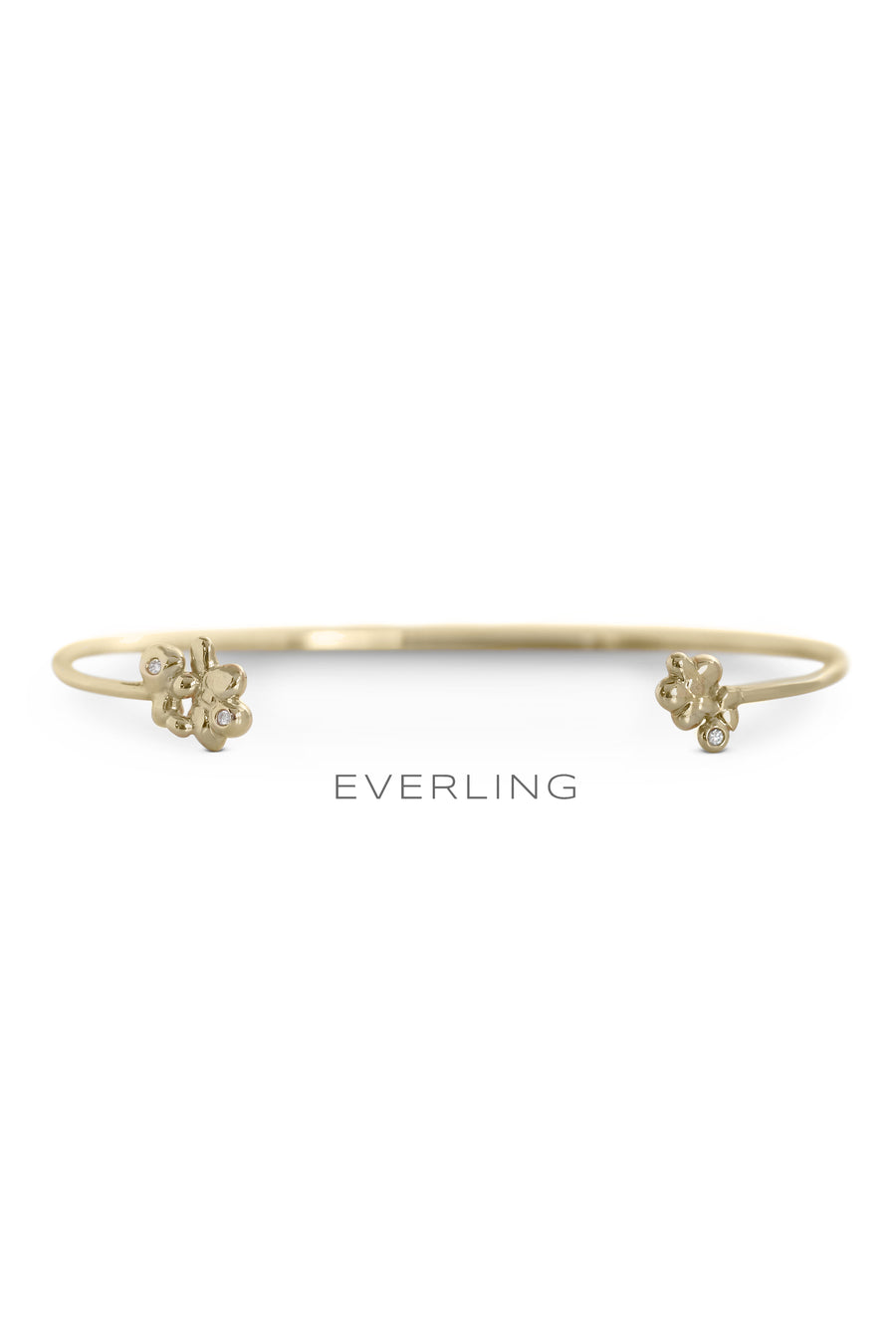 Recycled 14K Yellow Gold Bubble and Diamond Accent Cuff Bracelet. #designerjewelry www.everlingjewelry.com