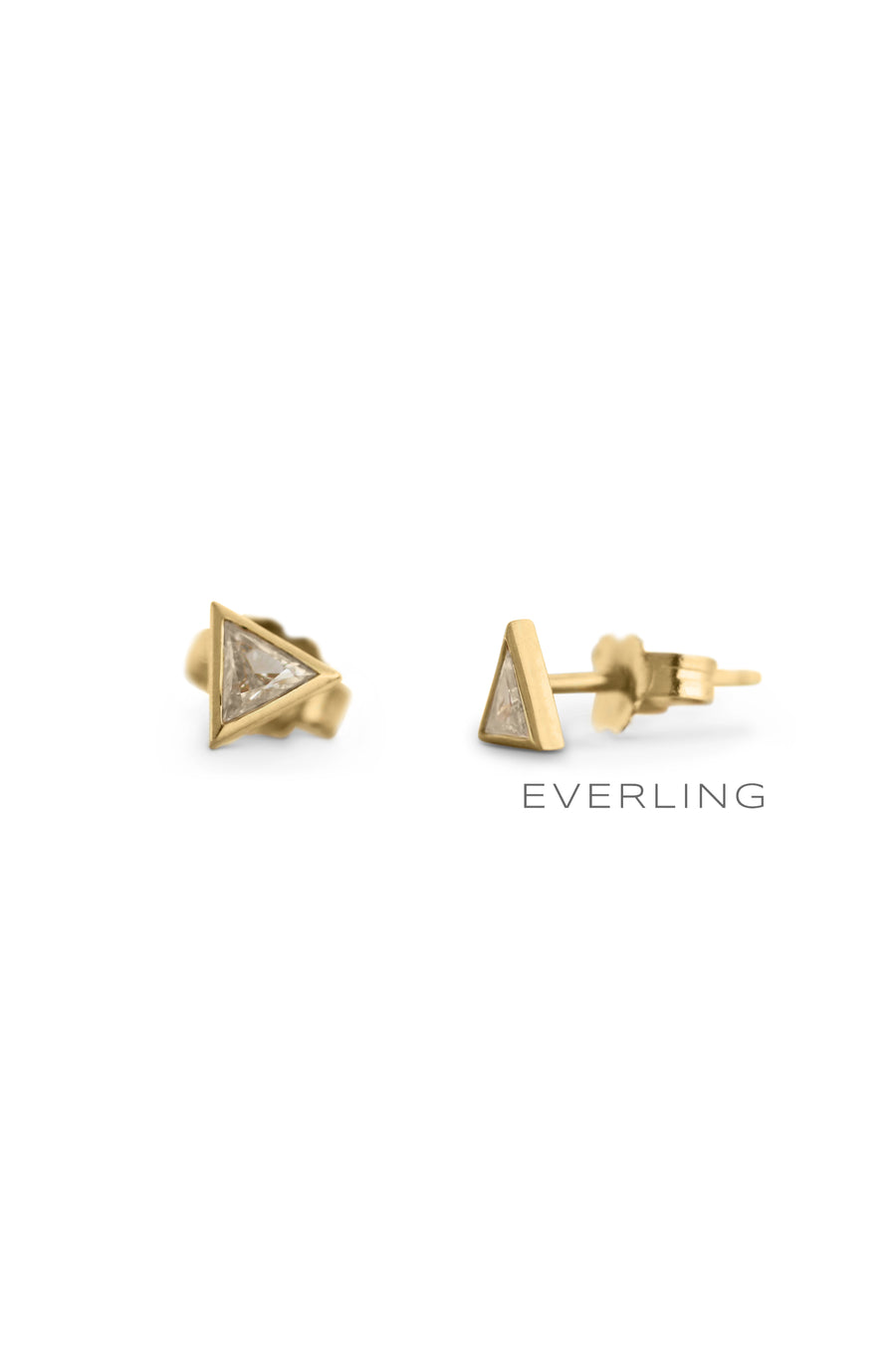 Detail- Recycled 18k Yellow Gold triangle cut diamond bezel stud earrings. #designerjewelry www.everlingjewelry.com
