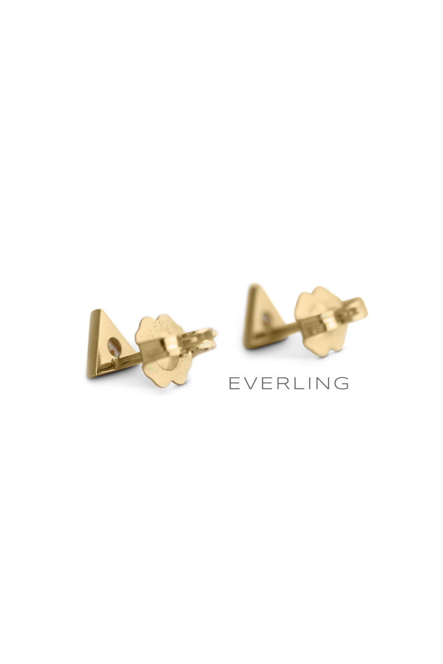 back- Recycled 18k Yellow Gold triangle cut diamond bezel stud earrings. #designerjewelry www.everlingjewelry.com