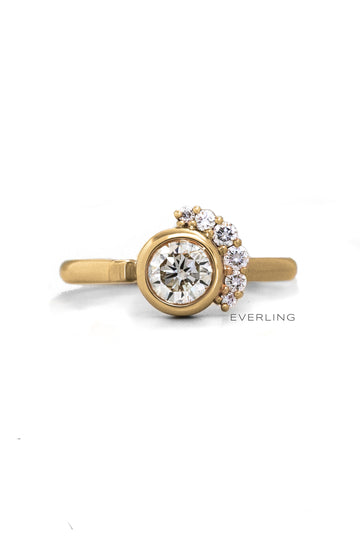 Recycled 14K Yellow Gold Round Diamond Engagement Ring. #engagementrings #designerjewelry www.everlingjewelry.com