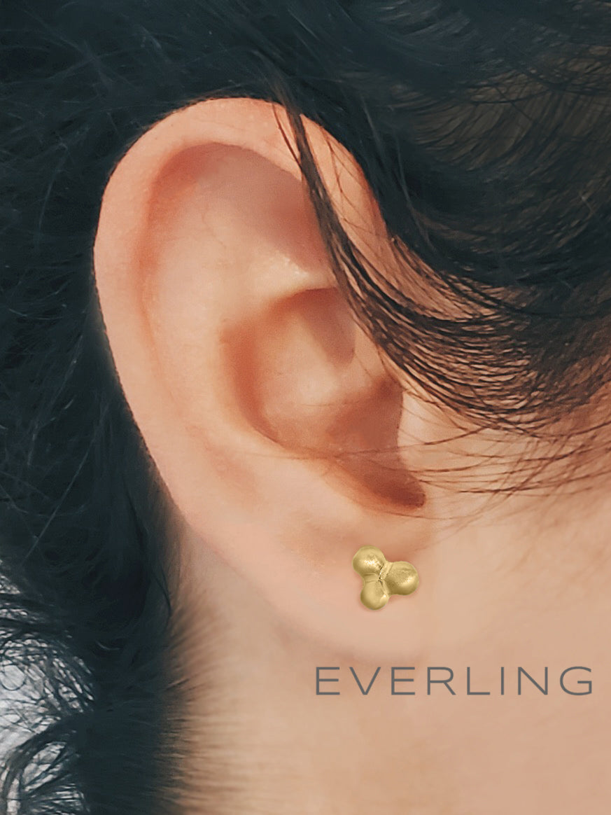 Recycled 14k Yellow Gold textured three leaf clover stud earrings. www.EverlingJewelry.com