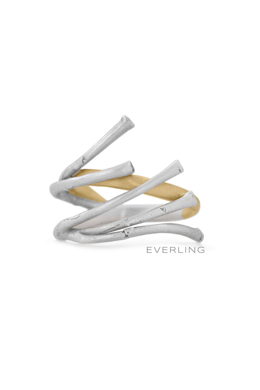Recycled 14K Yellow Gold and Sterling Silver Branch Ring. #organicjewelry #designerjewelry www.everlingjewelry.com