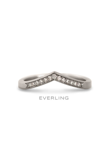 Recycled 14k palladium white gold contour band with (13) Canadian sourced diamonds pave set on about one-third of the ring, 0.12ctw. www.EverlingJewelry.com