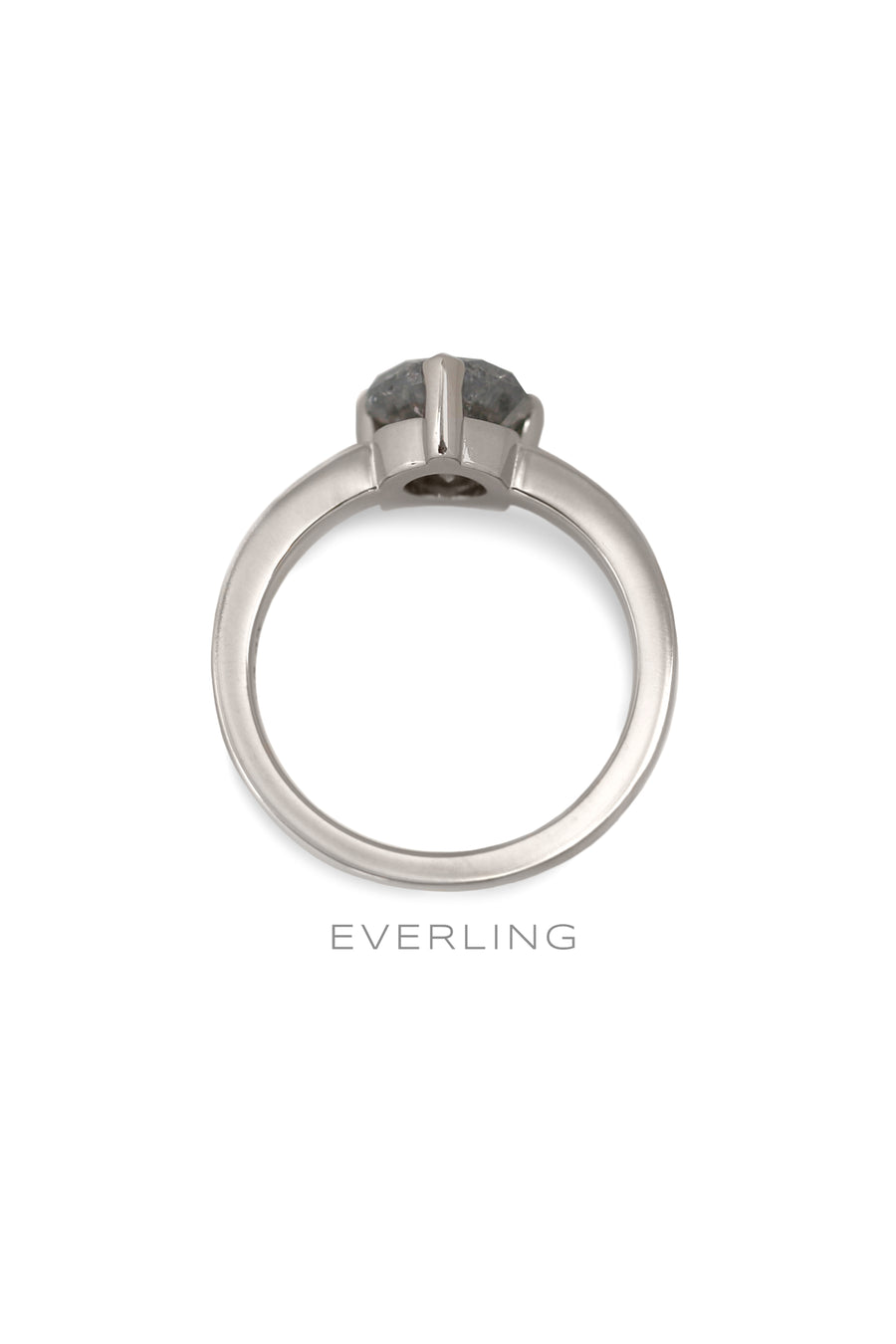 Front view of a 3 prong ring made with recycled 14k palladium white gold for a 2.00ct RBC Salt and Pepper diamonds with Canadian sourced diamonds on each side. www.EverlingJewelry.com