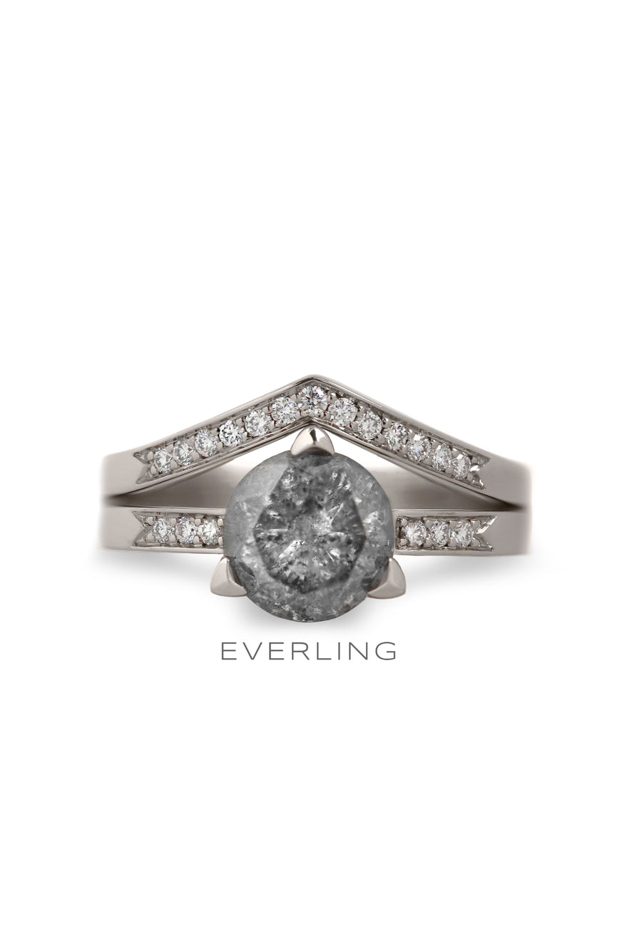 14k palladium white gold wedding set. www.EverlingJewelry.com